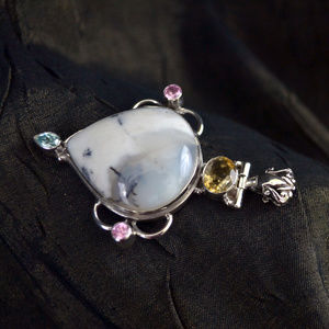 Jewelry - Dendritic Agate & 3 types of Topaz Silver Pendant